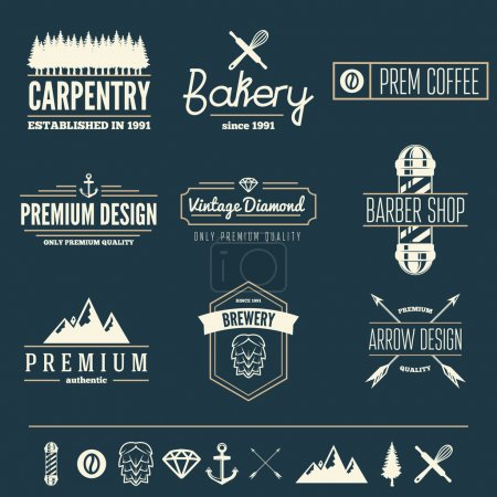Illustration for Retro Vintage Insignias set, vector design elements, signs, logos,  and other branding objects - Royalty Free Image