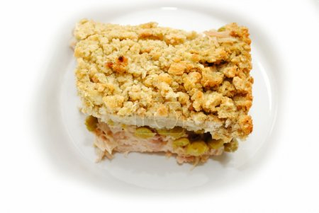 Turkey Shepards Pie with Peas and Topped with Bread Stuffing