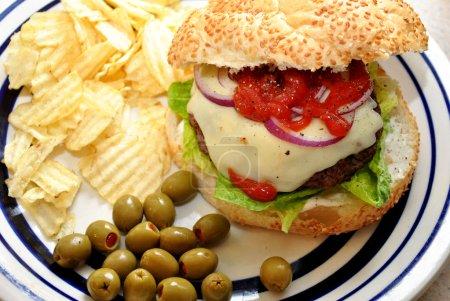 Chips with a Burger at a Summer Picnic
