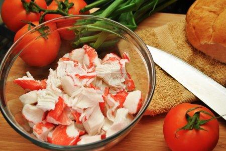 Photo pour Ingrédients du Sandwich viande de crabe - image libre de droit