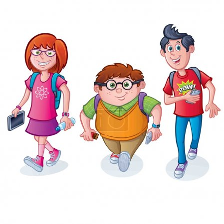 Nerdy School kids Walking with Backpacks