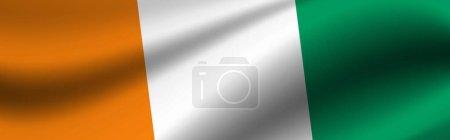 Photo pour Bannière avec le drapeau de Côte d'Ivoire Texture tissu du drapeau de la Côte d'Ivoire. - image libre de droit