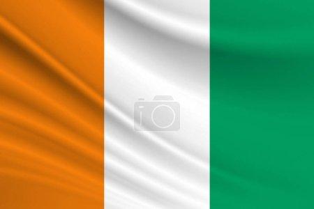 Photo pour Drapeau de Côte d'Ivoire Texture tissu du drapeau de Côte d'Ivoire. - image libre de droit