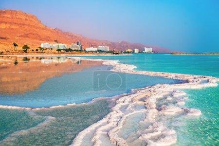 Dead sea salt shore. Ein Bokek, Israel...