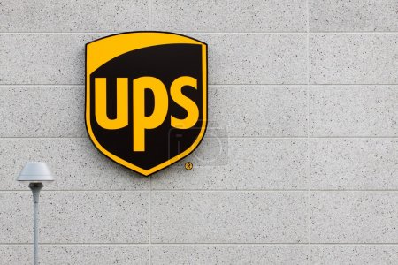 UPS logo on a facade