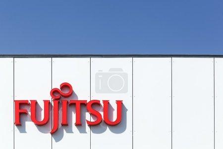 Fujitsu logo on a facade