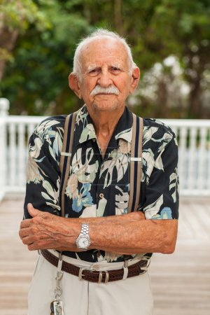 Photo for Elderly eighty plus year old man outdoor portrait. - Royalty Free Image
