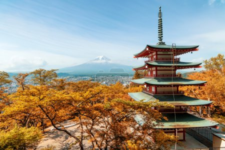 Travel in Japan - Beuatiful autumn in Japan at Red pagoda with M