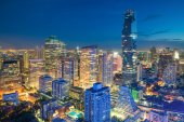 Bangkok night view in business district, Thailand. Bangkok skysc