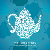 Stylized teapot of white dots (circles) the vector Seamless background of dummies