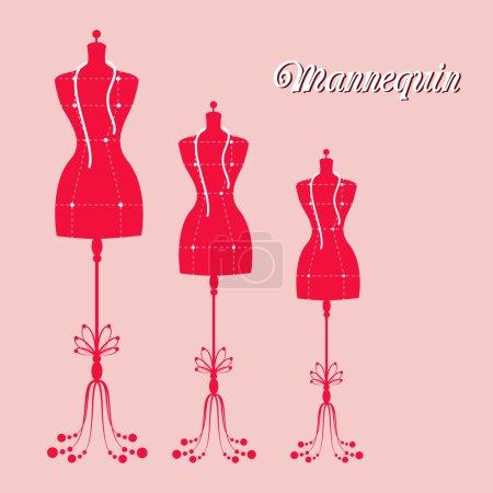 Vector vintage tailors mannequin for female body...