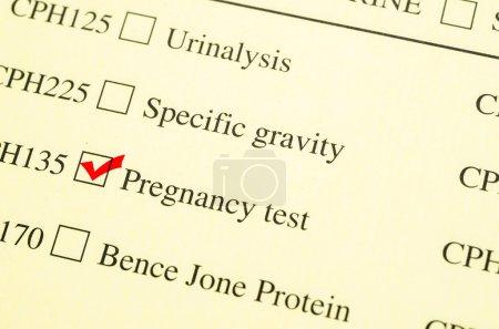Check mark Medical form request Pregnancy test.