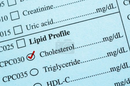 Check mark on Medical check list Cholesterol.