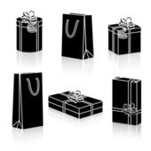 Set of silhouettes gift packages for the holidays with reflection on white background