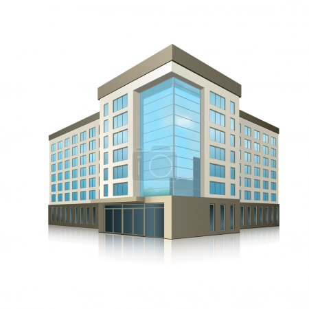Illustration for Office building with entrance and reflection on white background - Royalty Free Image