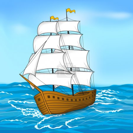 Illustration for Colored vintage sailing ship at sea and the sky - Royalty Free Image