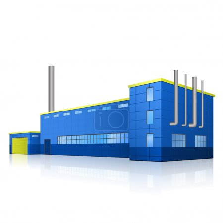 Illustration for Factory building with offices, production facilities and reflection - Royalty Free Image