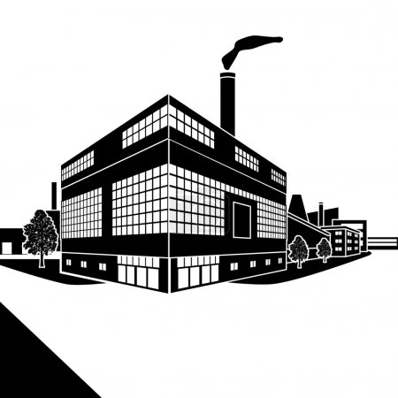 Illustration for Silhouette factory building with offices and production facilities in perspective - Royalty Free Image