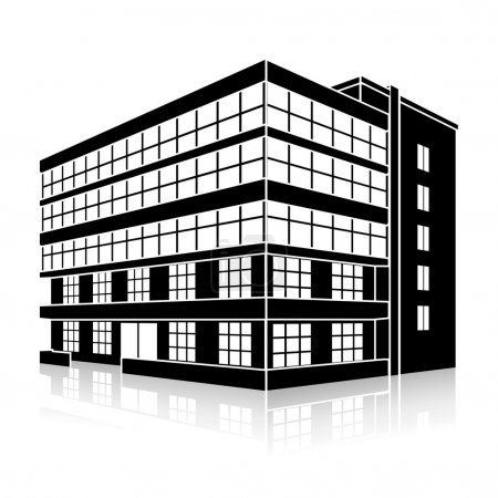 Illustration for Silhouette office building with an entrance and reflection on a white background - Royalty Free Image