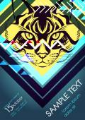 Design template with cat and place for text Festival poster