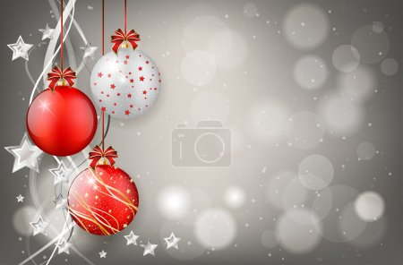 Red and silver christmas balls on shiny background
