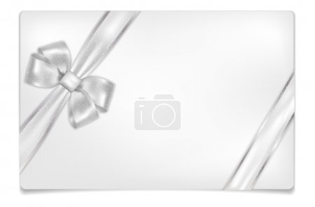 Empty paper card with shiny silver bow