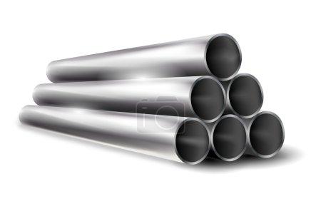 Illustration pour Pile de tuyaux métalliques brillants sur fond blanc - illustration vectorielle - image libre de droit