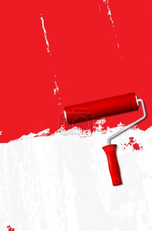 Paint roller - painting the walls red