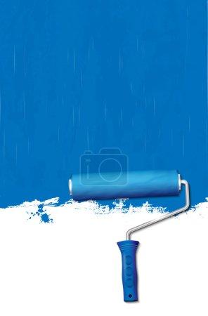 Illustration pour Rouleau de peinture - peinture des murs en bleu. Illustration vectorielle . - image libre de droit
