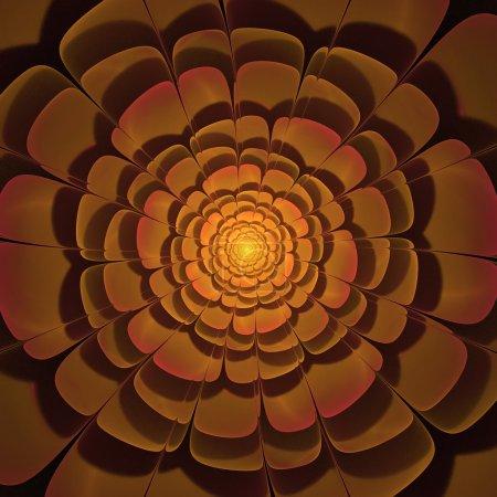 czerwone i żółte światła 3d fraktal kwiat