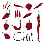 Red chilli peppers types of hot chillies simple icons collection eps10