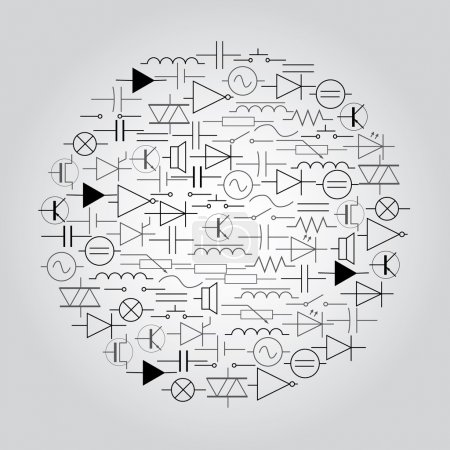 Illustration for Schematic symbols in electrical engineering in circle eps10 - Royalty Free Image