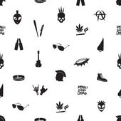 Black and white punk icons seamless pattern eps10