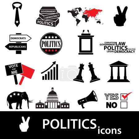 politics black and red simple icons set eps10