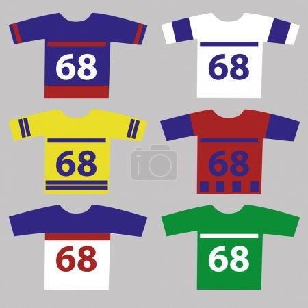 Ice hockey jersey set with player numbers eps10