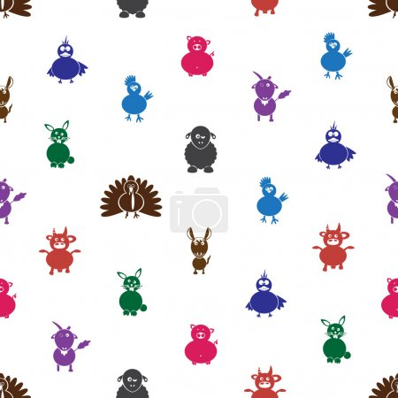Illustration for Color farm animals with mild mental disabilities seamless pattern eps10 - Royalty Free Image