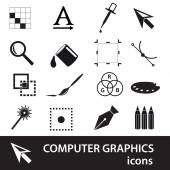 computer graphics black symbols icon set eps10