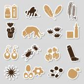 Allergy and allergens color stickers set eps10