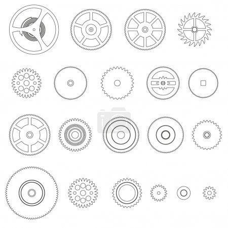 Illustration for Various outline cogwheels parts of watch movement eps10 - Royalty Free Image