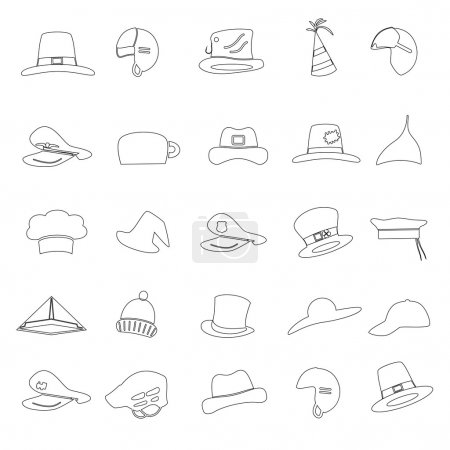 various black hats outline icons vector set eps10