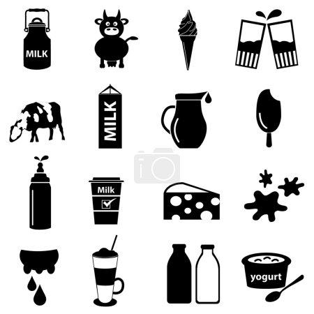 milk and milk product theme icons set eps10