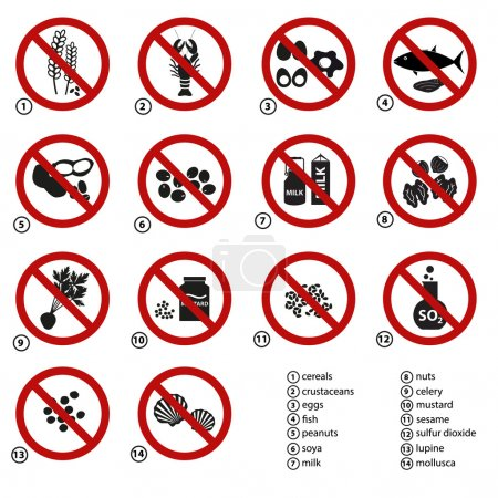 set of typical food alergens prohibitions for restaurants and meal eps10