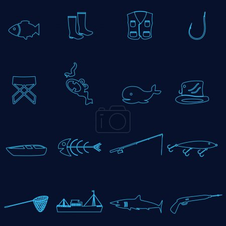 Simple outline blue fishing icons set eps10