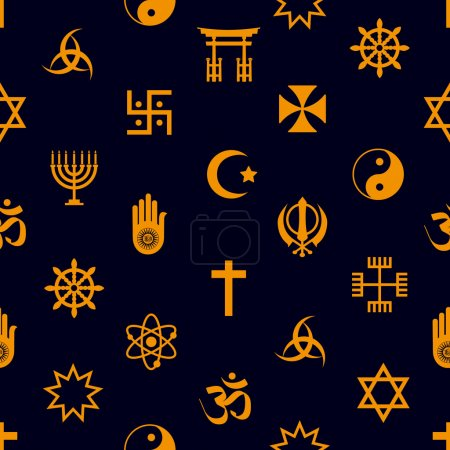 Photo for World religions symbols vector icons seamless pattern eps10 - Royalty Free Image