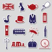 United Kingdom country theme symbols stickers eps10
