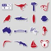 Australia country theme color stickers set eps10