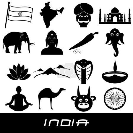 Illustration pour Autocollants de symboles de thème de pays de l'Inde ensemble eps10 - image libre de droit