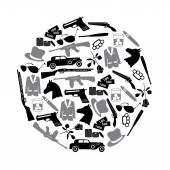 Mafia criminal black symbols and icons in circle eps10