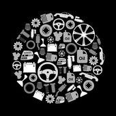 Autó alkatrészek tárolására egyszerű szürkeárnyalatos ikonok a kör eps10
