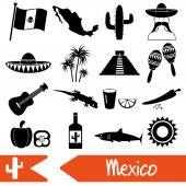 Mexiko země téma symboly ikony nastavit eps10